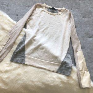 Ann taylor merino wool cream & grey sweater sz.S
